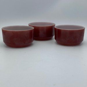 Vintage fire king Brownstone Custard Cup Lot of 3
